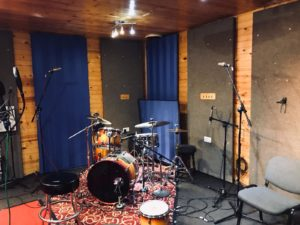 drums set up at recording studio